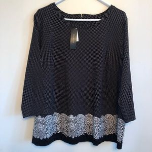 TALBOTS Polka Dot Lace Pattern 2X Black Shirt